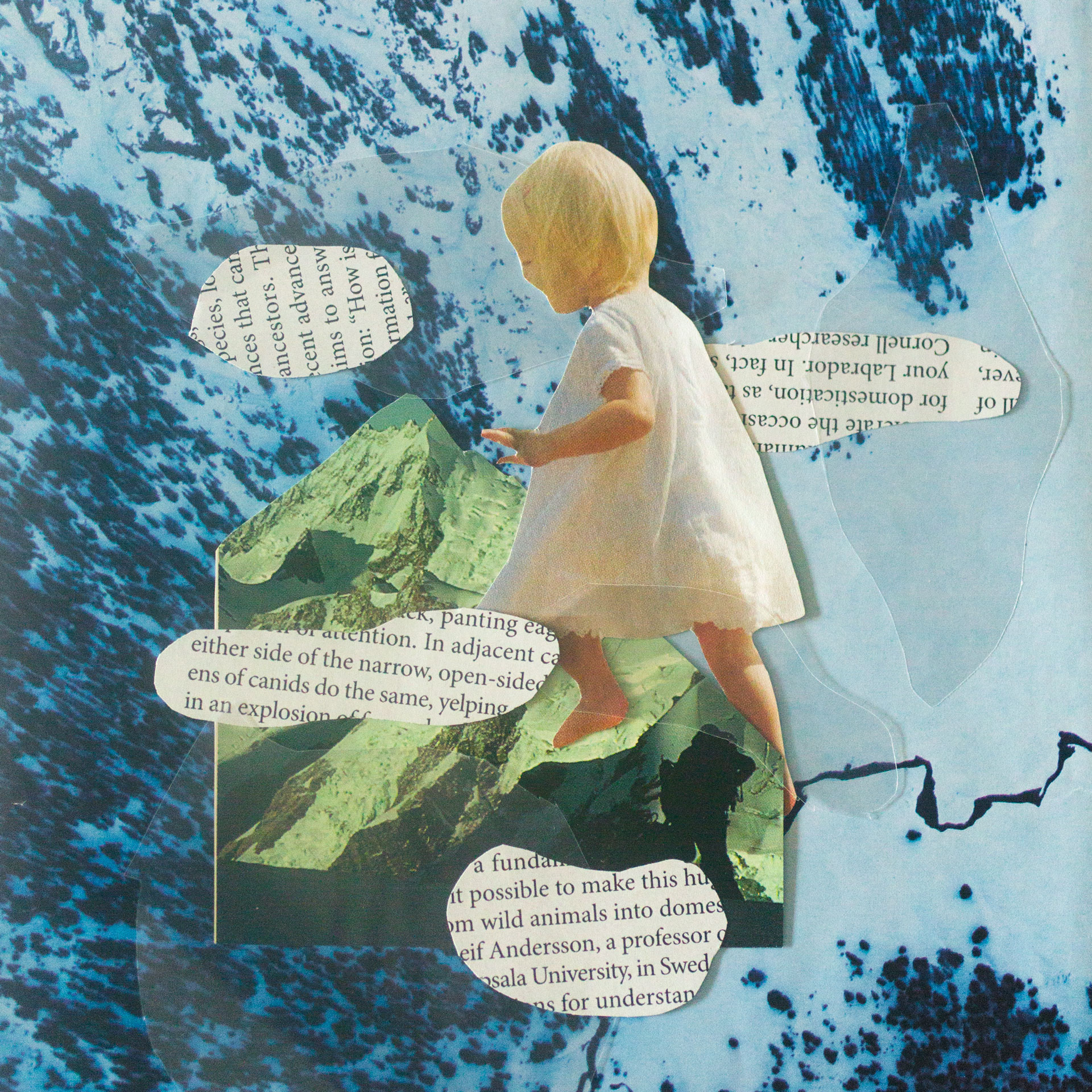 Little Girl Climbing Mountains with Words & B (L) O O M